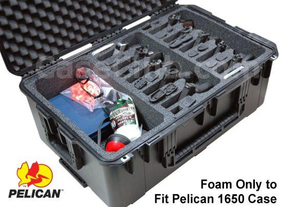 10 Pistol & Accessory Foam Only for the Pelican™ 1650 Case - Foam Example