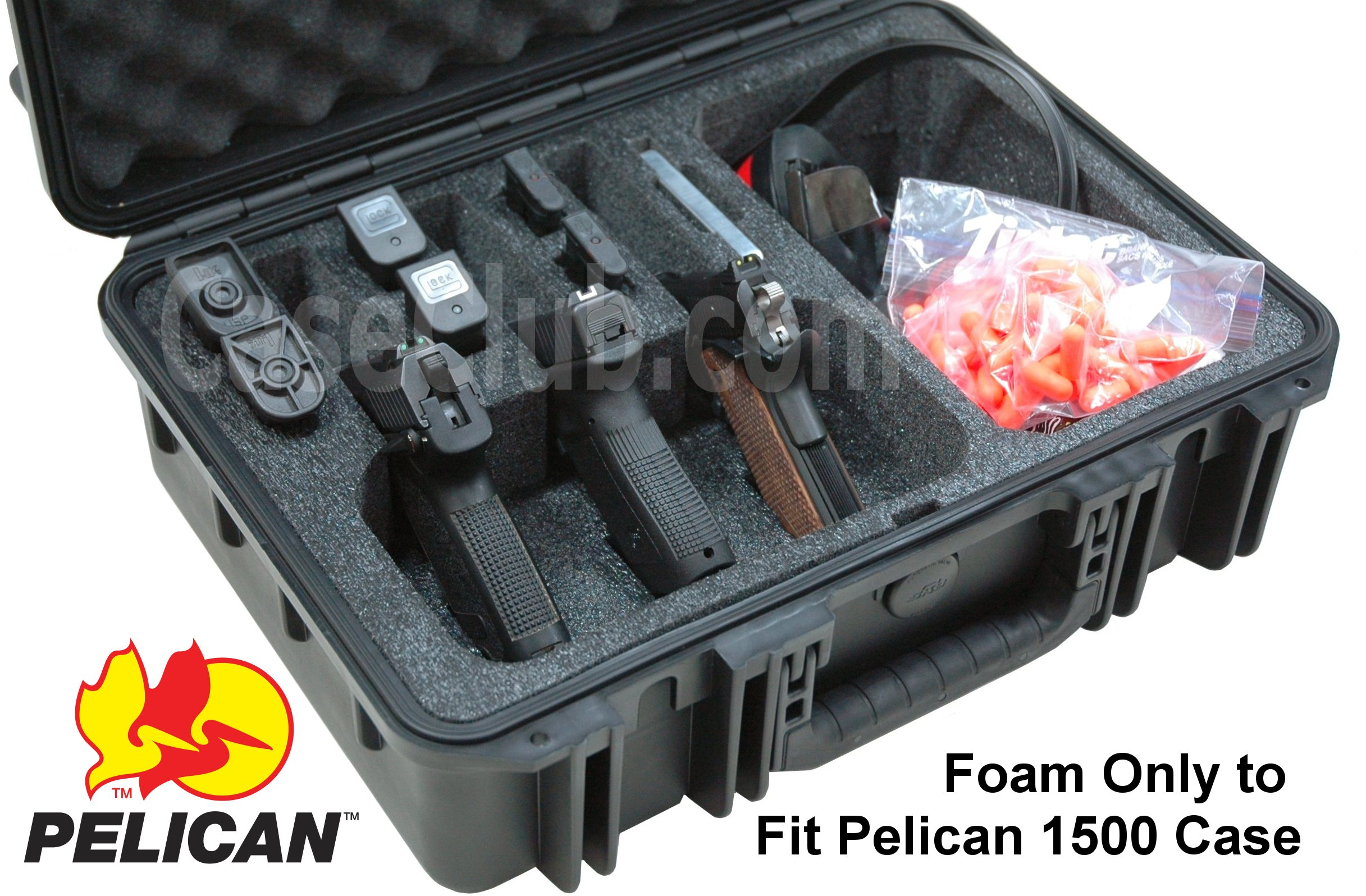 Pelican™ 1500 Case Custom Foam Example: 3 Pistol