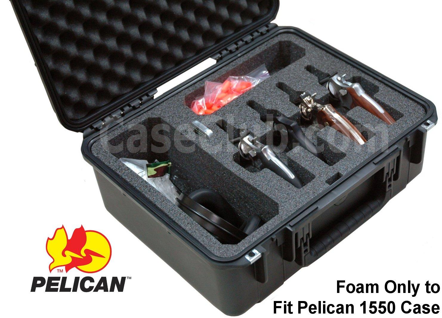 Pelican™ 1550 Case Custom Foam Example: 4 Revolver