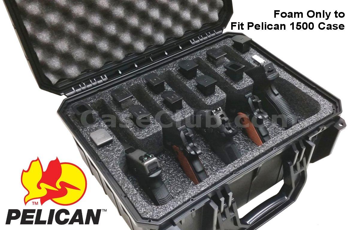 Pelican™ 1500 Case Custom Foam Example: 5 Pistol Foam Only For The Pelican™ 1500 Case
