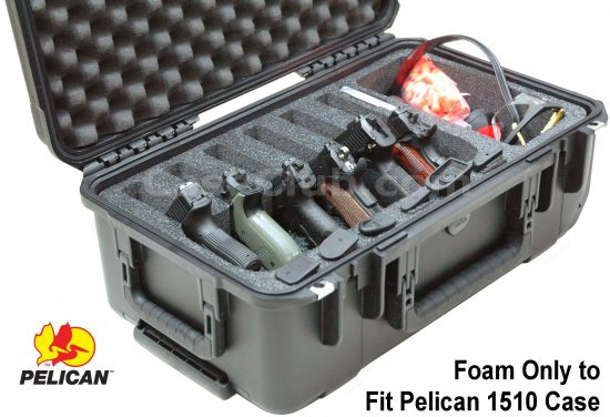 6 Pistol & Accessory Foam Only for the Pelican™ 1510 Case - Foam Example