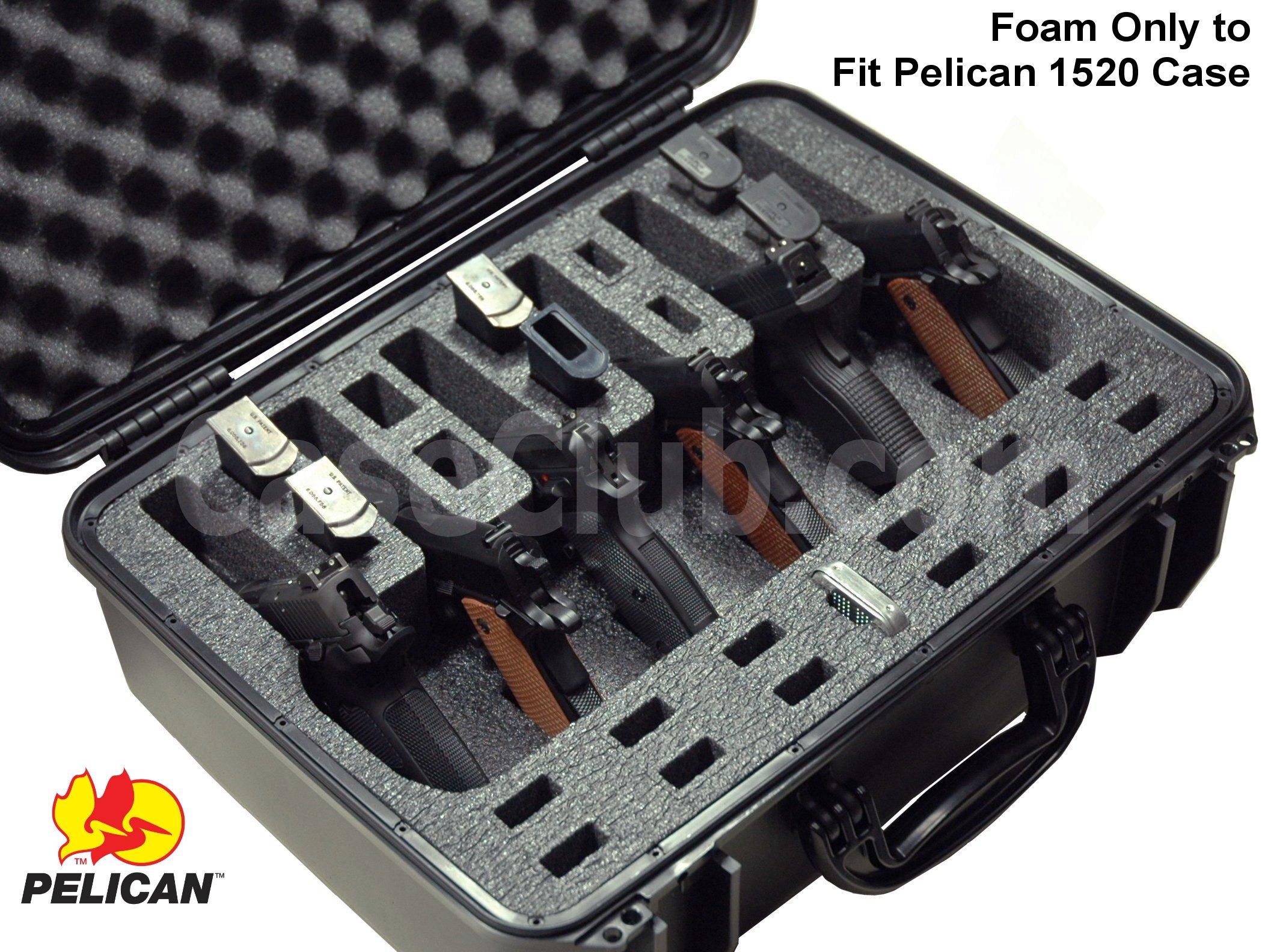 Pelican™ 1520 Case Custom Foam Example: 6 Pistol Foam Only For The Pelican™ 1520 Case