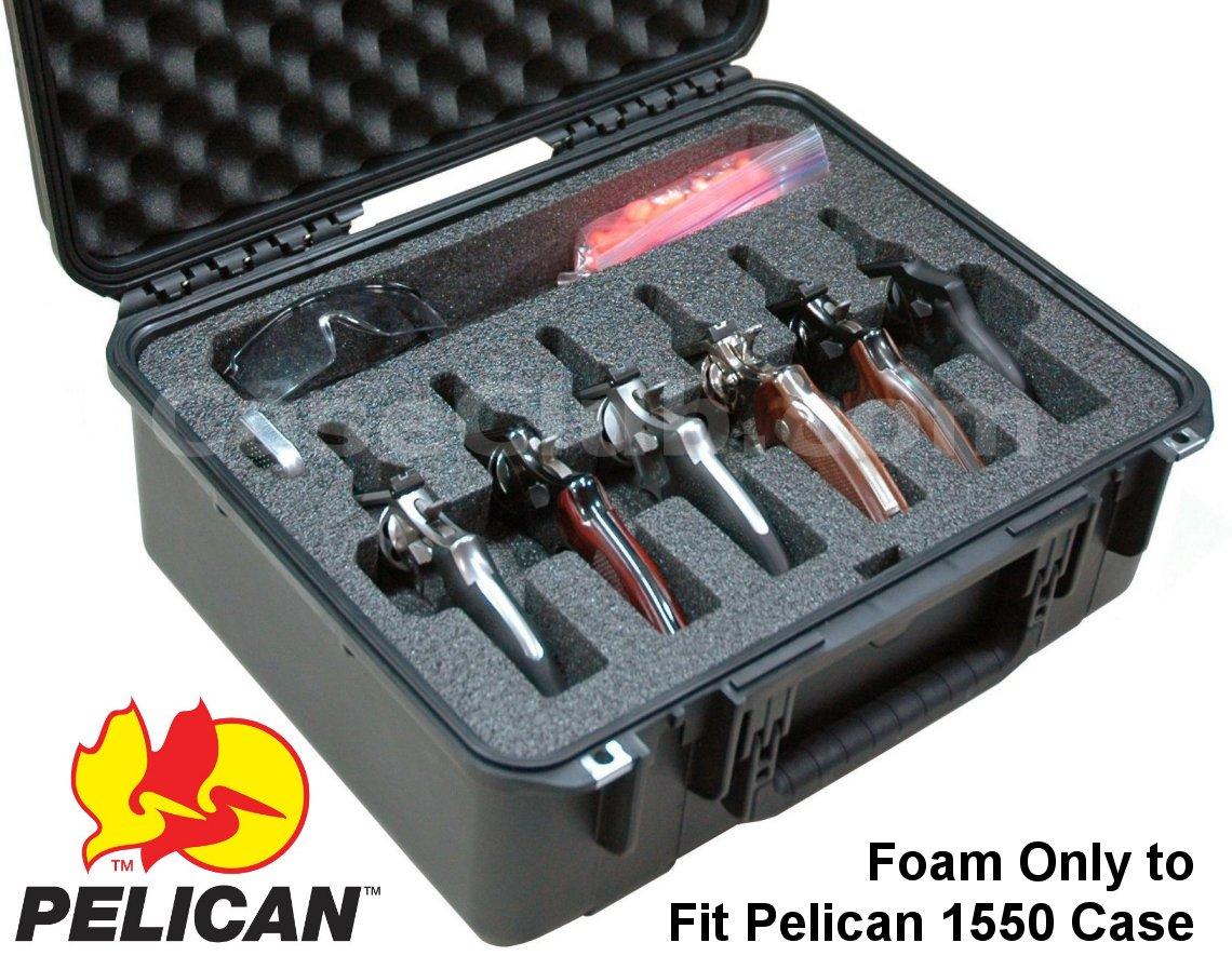 Pelican™ 1550 Case Custom Foam Example: 6 Revolver Foam Only For The Pelican™ 1550 Case
