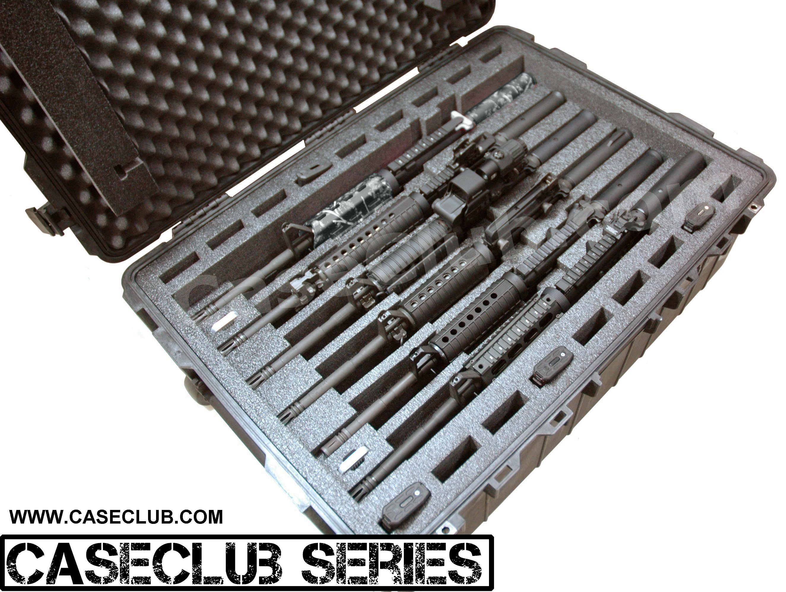 Pelican™ 1730 Case Custom Foam Example: 6 AR15 Rifle Case