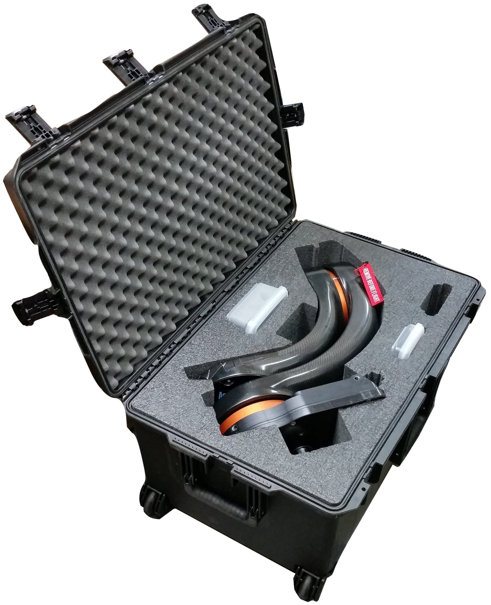 SKB 3I-2918-14 Case Custom Foam Example: Shotover F1 Camera System Case For Gimbal Arm