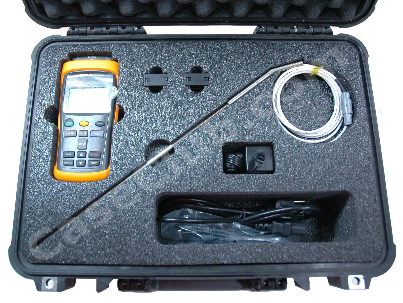 Pelican™ 1500 Case Custom Foam Example: Fluke Calibration 1523 Handheld Thermometer Case