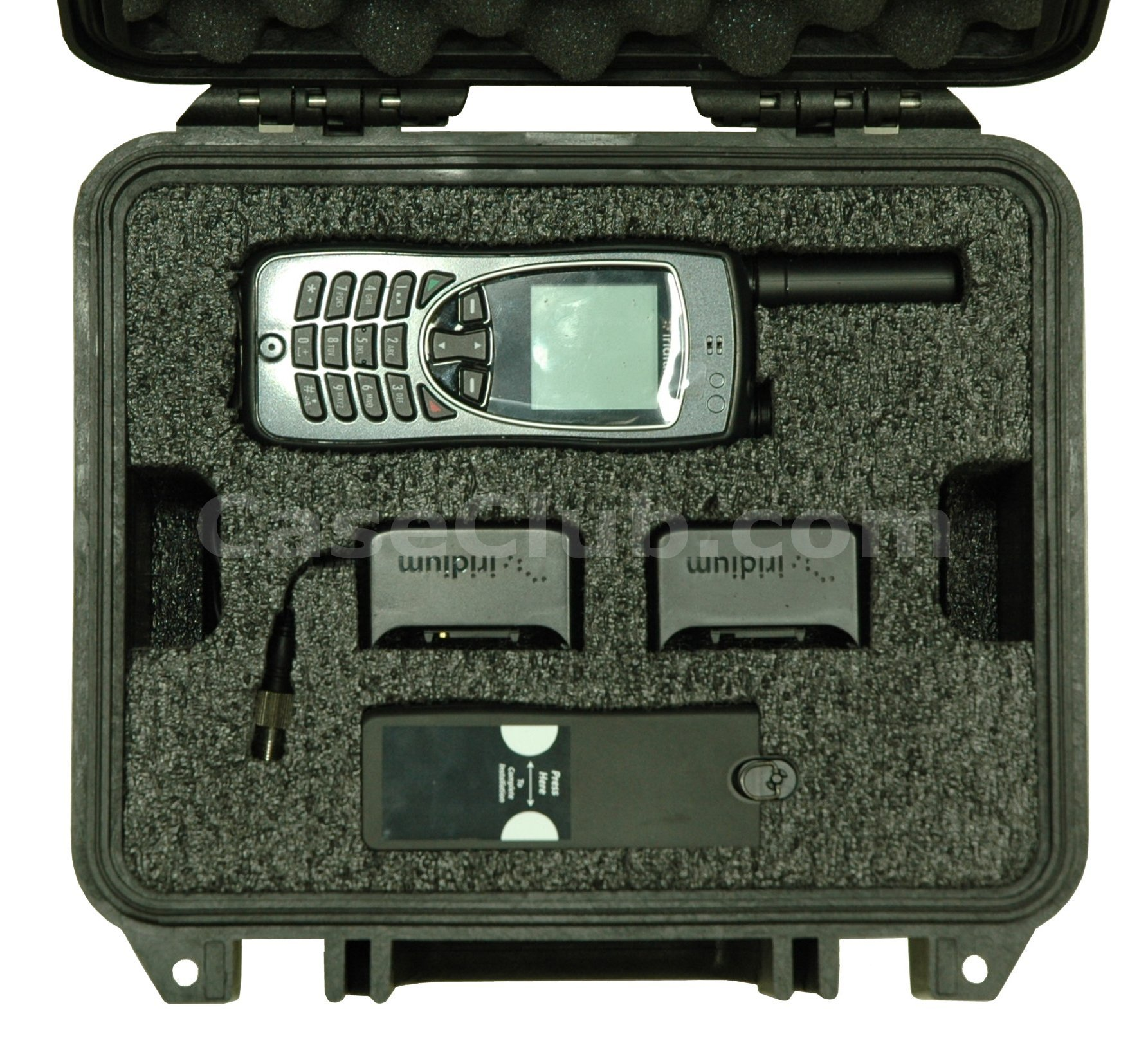Pelican™ 1300 Case Custom Foam Example: Iridium Extreme Satellite Phone Case