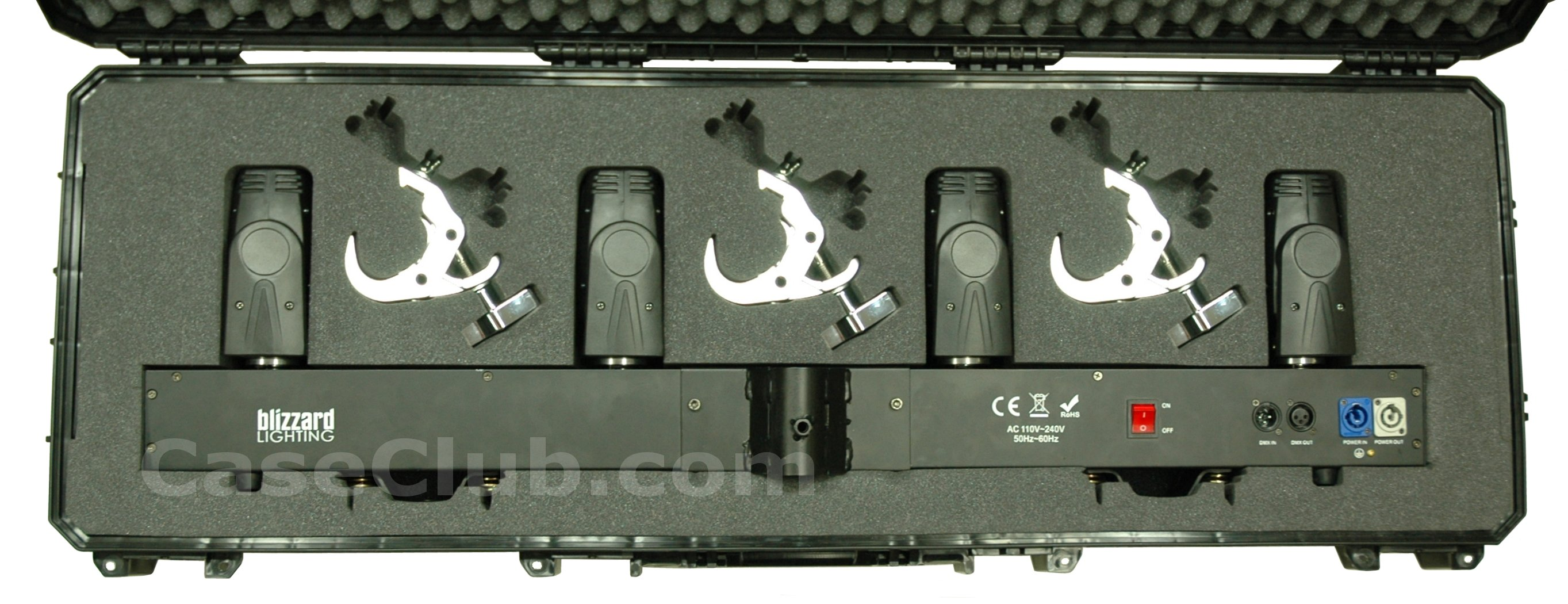 Seahorse 1530 Case Custom Foam Example: Blizzard Lighting Blade Runner RGBW Light Fixture Case