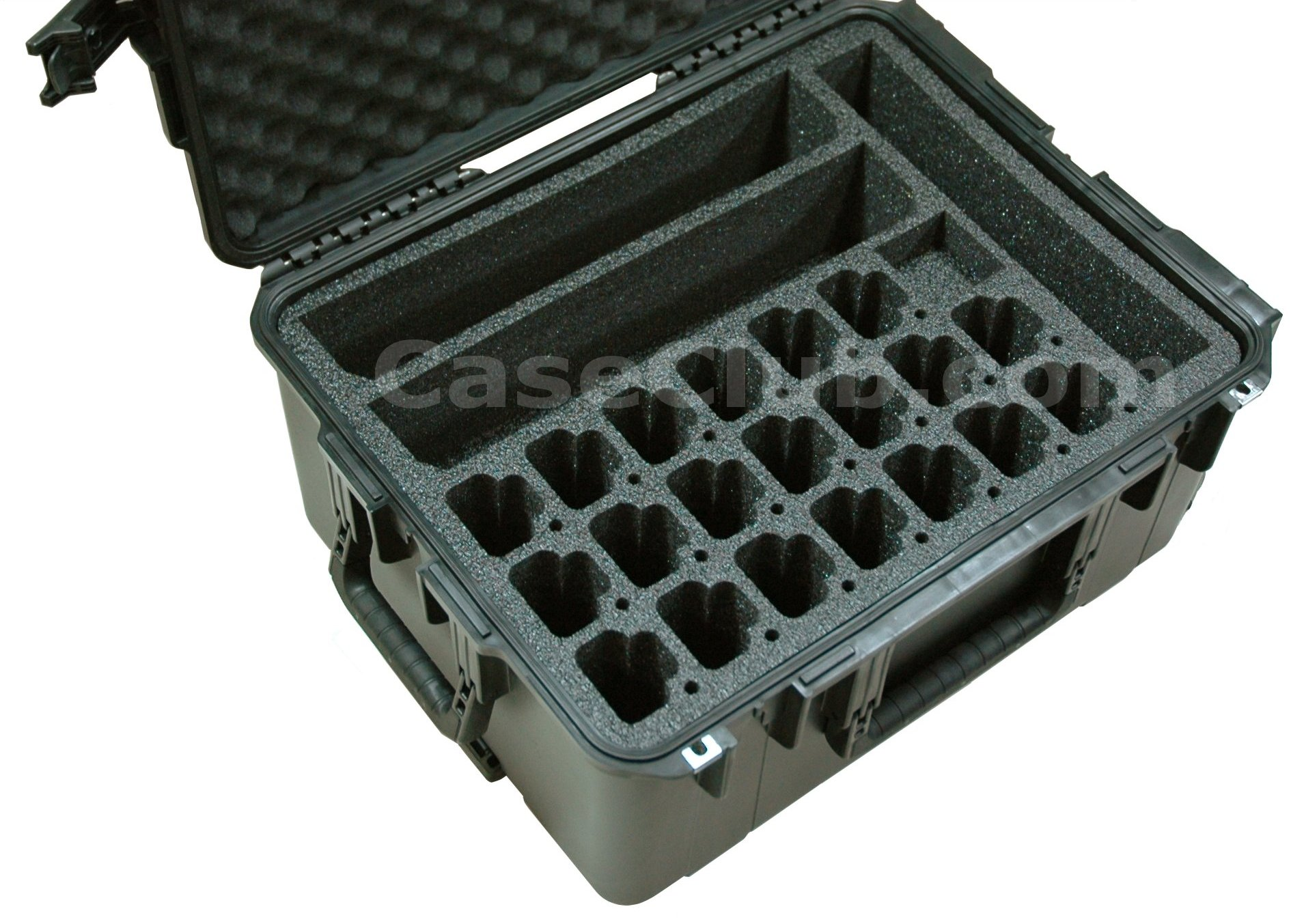 SKB 3I-2217-10 Case Custom Foam Example: Qty 20 Motorola CP200 Radio, 2 Charging Banks