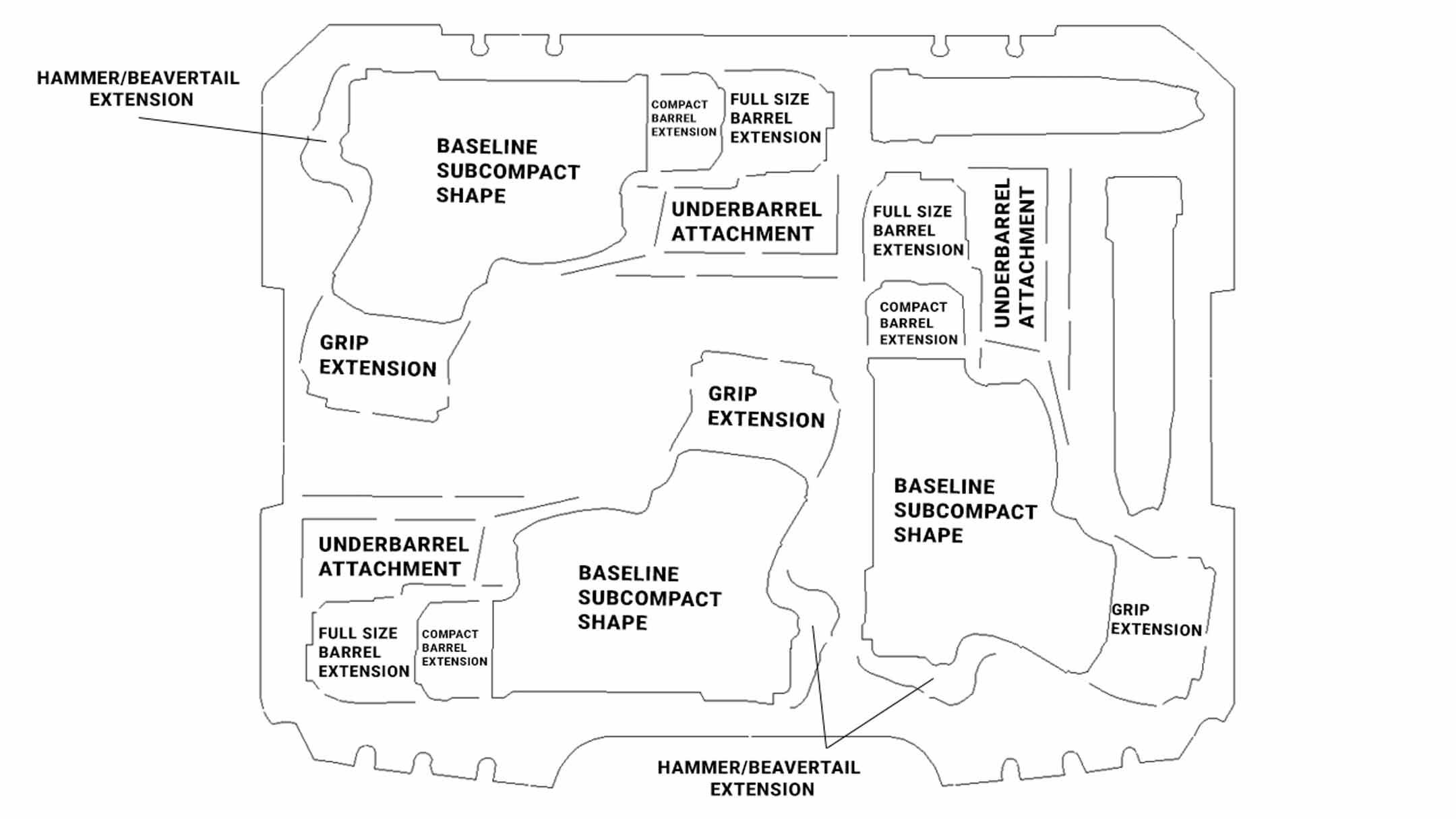 pistol foam design diagram