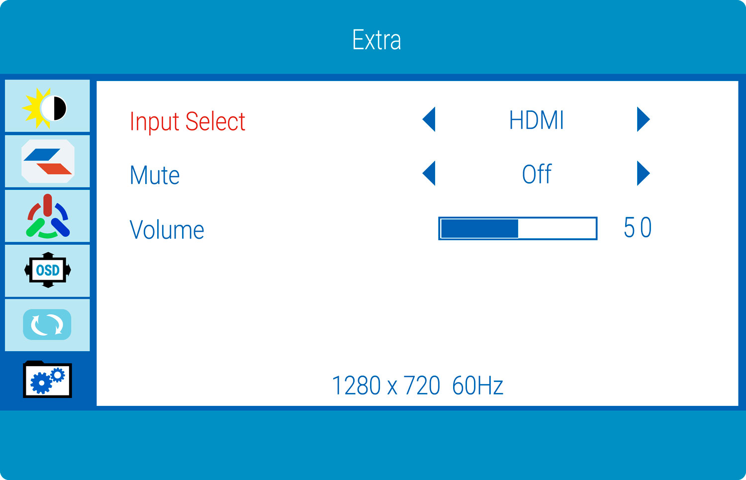 Gaming Monitor Extra Select Option
