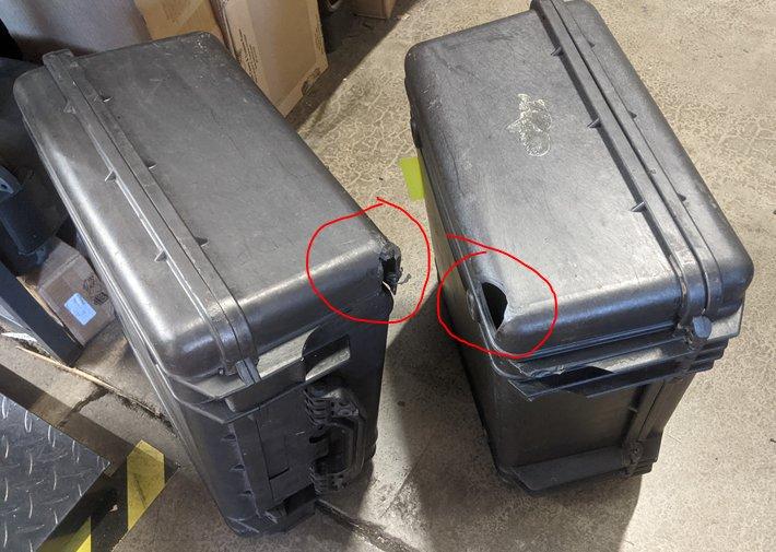 2 broken pelican 1550 cases